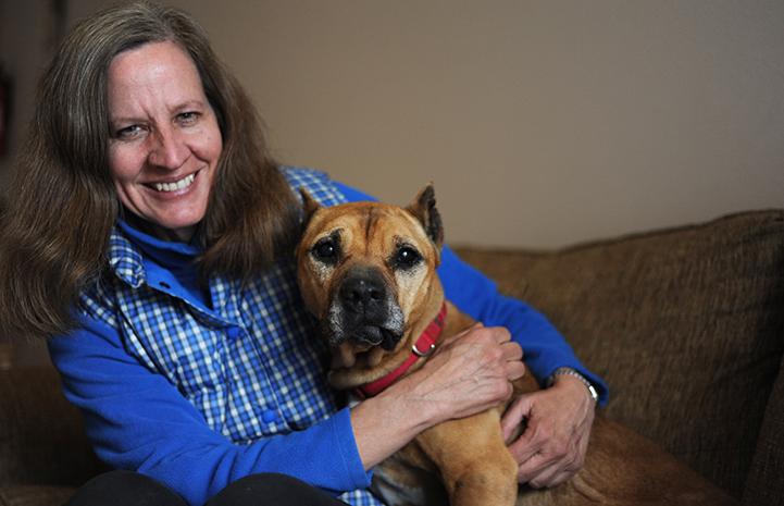 Adopter Amy Egger with Georgia the Vicktory dog