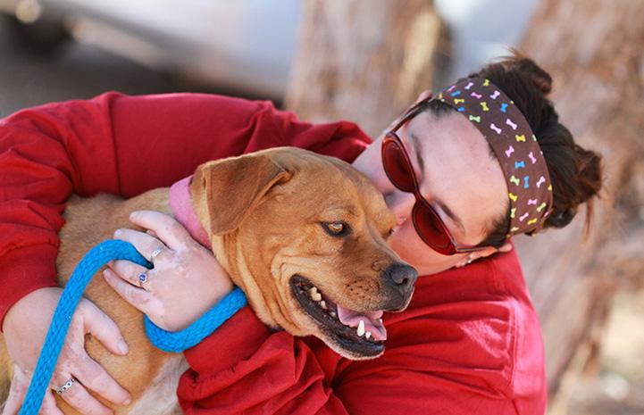 Woman giving a kiss to Meryl the Vicktory dog