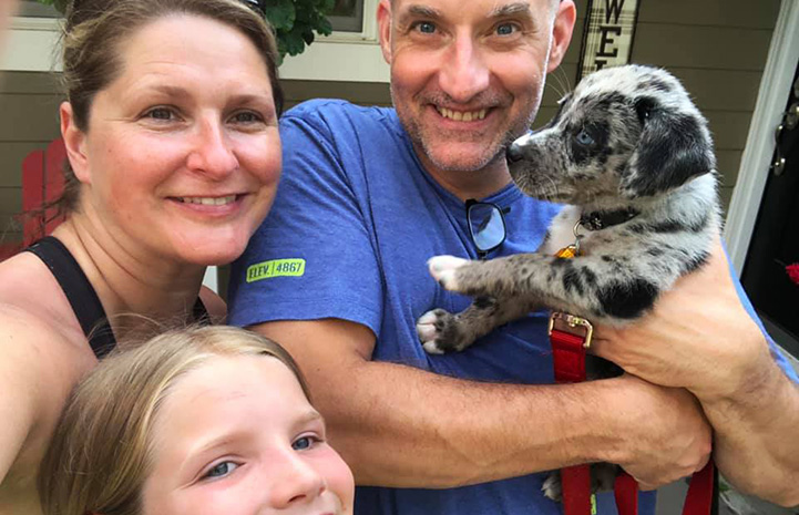 Sunny the speckled puppy with her new family