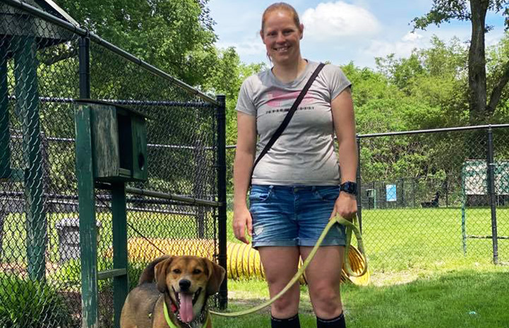 Woman adopting a dog from Humane Society of Greater Dayton