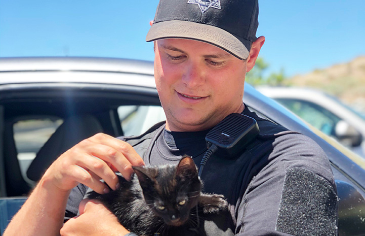 Man holding a black kitten he's adopting from the SPCA of Northern Nevada