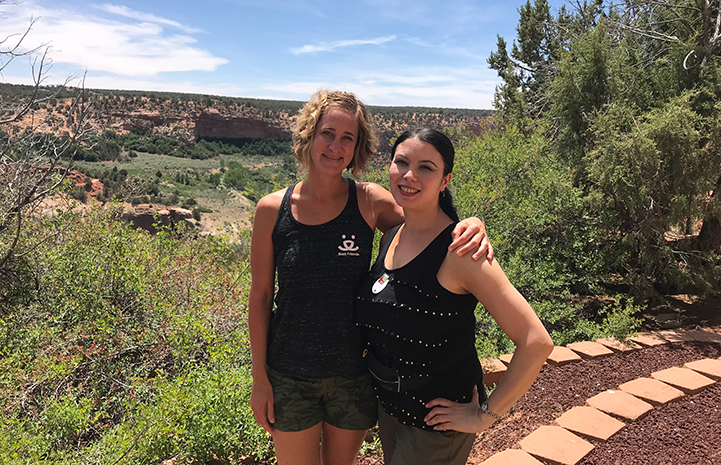 Volunteer Chelsea Eng with her friend Jennifer Wesely
