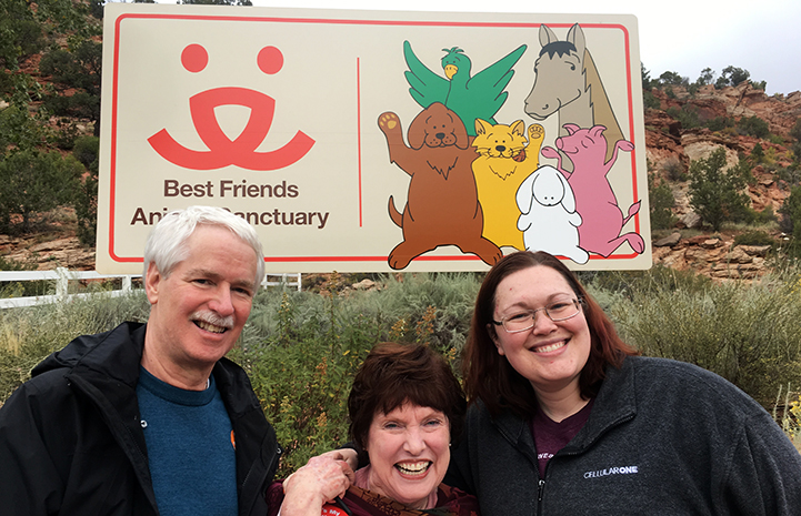 Dianne, Lisa and Michael volunteering at Best Friends Animal Sanctuary