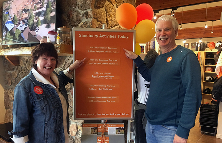Dianne and Michael at the Welcome Center for a Sanctuary tour before volunteering