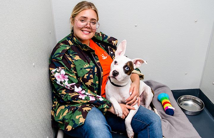 Emma the dog with volunteer, Kaelen Haworth