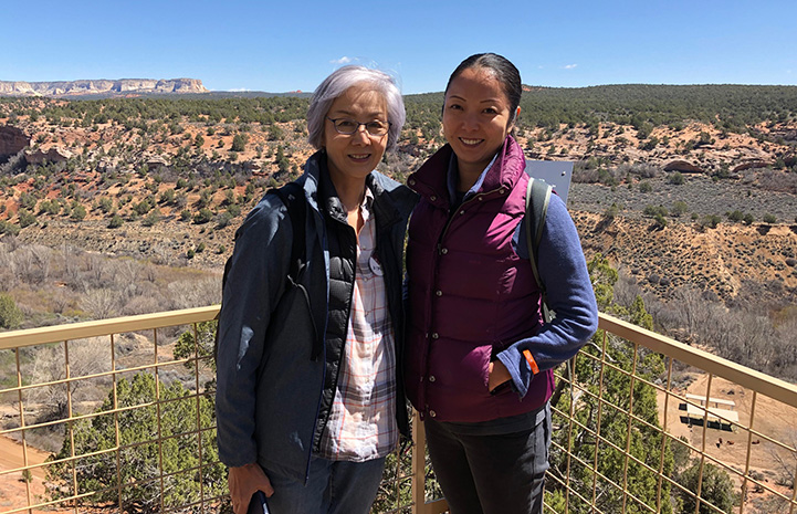 Volunteer Ranko Fukuda with another woman overlooking Angels Canyon at Best Friends Animal Sanctuary