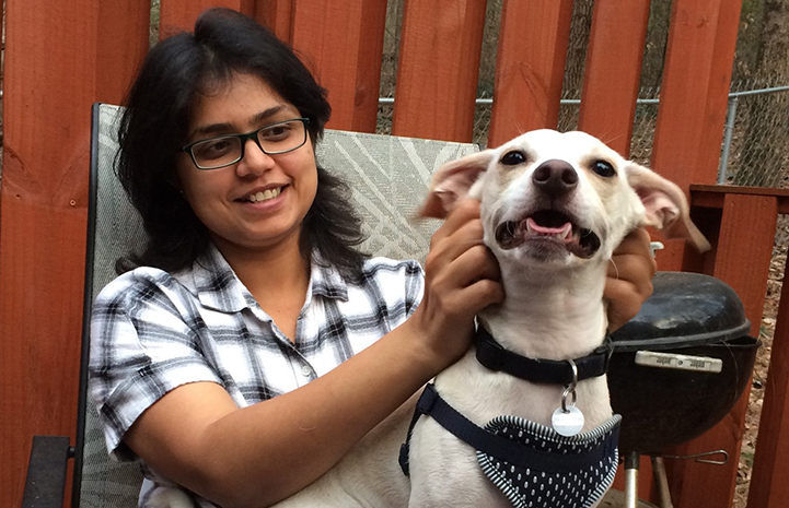Volunteer Swarnima Singh with her dog Brodie
