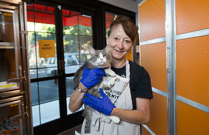 Kim Bayley believes the most gratifying thing about volunteering at the pet adoption center helping the staff concentrate on their jobs and the mission