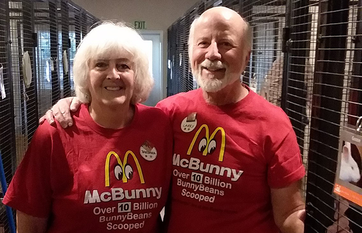Two Bunny House volunteers wearing specially made T-shirts