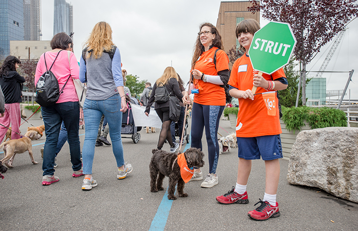 Two volunteers helping at Strut Your Mutt in New York City