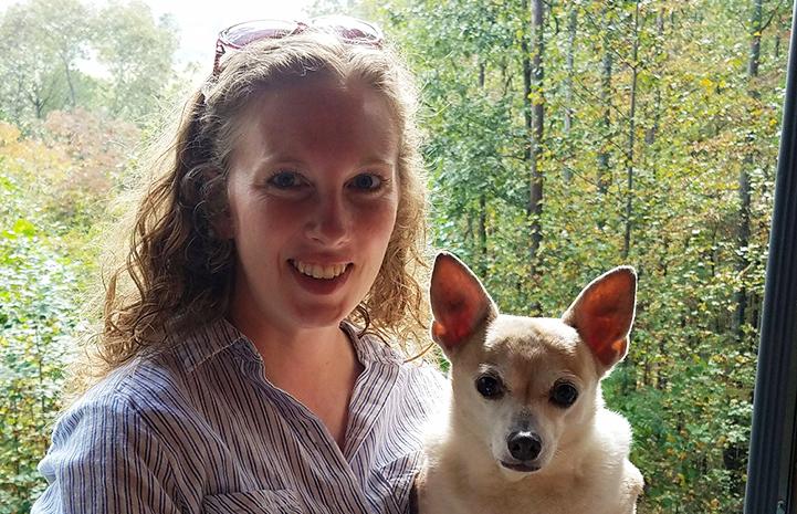 Erin Granados holding Obie her dog