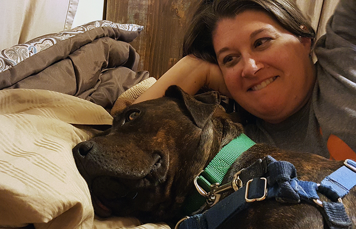 Jennifer cannot decide which dog stole her heart more on this volunteer trip to Best Friends