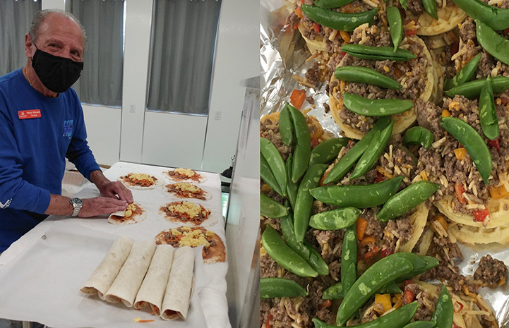 Man making burrito treats for Wild Friends residents