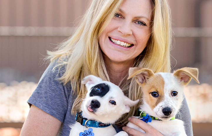 Kristen Bauer van Straten and puppies