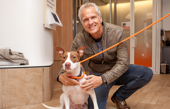 Patrick Fabian with a brown and white dog