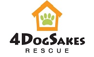 4DogSakes Rescue logo with house with pawprint