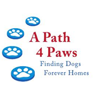"A Path 4 Paws Dog Rescue logo with paw prints and tagline ""Finding Dogs Forever Homes"""