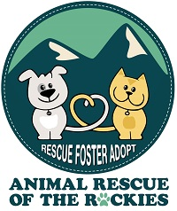Animal Rescue of the Rockies (Breckenridge, Colorado) logo with dog, cat, heart and mountains