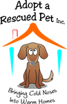 "Adopt A Rescued Pet logo with dog under roof and tagline ""Bringing Cold Noses Into Warm Homes"""