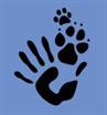 Allegany County Animal Shelter Management Foundation logo with cat print, dog print and hand print
