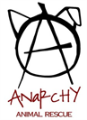"Anarchy Animal Rescue logo with the letter ""A"" and the outline of a dog"