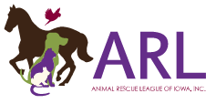 Animal Rescue League of Iowa (Des Moines, Iowa) logo with horse, dog, cat, bunny, and bird in front of each other