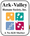 Ark-Valley Humane Society (Buena Vista, Colorado) logo with animal tracks & tagline 'A no-kill shelter'