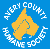 Avery County Humane Society (Newland, North Carolina) logo with silhouette of cat head in front of dog head in gold
