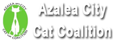 Azalea City Cat Coalition (Mobile, Alabama) logo with green cat