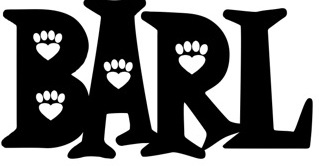 Brookhaven Animal Rescue League (Brookhaven, Mississippi) logo is BARL with pawprints in letters