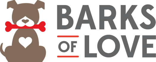 Barks of Love Animal Rescue & Placement Services (Fullerton, California) logo with dog with heart bone