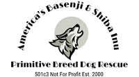 "Americas Basenji Rescue logo with howling dog and tagline ""Primitive Breed Dog Rescue"""