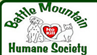 Battle Mountain Humane Society (Hot Springs, South Dakota) logo with dog, cat, heart and text