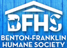 Benton-Franklin Humane Society (Kennewick, Washington) logo with rooftop and BFHS acronym with dog and cat