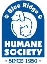 Blue Ridge Humane Society (Hendersonville, North Carolina) Blue/White Logo with silhouette of dog/cat curled up together