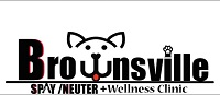 "Brownsville Spay Neuter (Brownsville, Texas) logo has a dog face forming the ""w"" in ""Brownsville"""