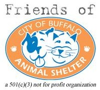 City of Buffalo Animal Shelter (Buffalo, New York) logo has blue and white dog and cat faces in the middle of an orange circle