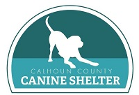 Friends of Calhoun County Canine Shelter (Rockwell City, Iowa) logo of dog on green background