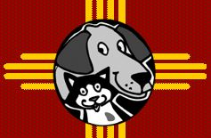 Chama Valley Humane Society (Chama New Mexico) logo of cat and dog on red and yellow background
