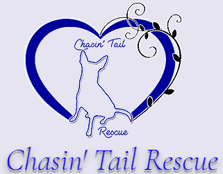 Chasin' Tail Rescue (Bailey, North Carolina) logo with heart around dog