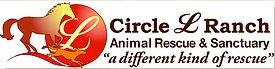 """Circle L Ranch Animal Rescue & Sanctuary (Prescott Valley, Arizona) logo has a running horse and dog with an """"L"""" in a red circle"""