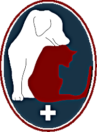 Companion Animal Clinic of the Sandhills Foundation (Southern Pines, North Carolina) logo with dog & cat on blue backtround