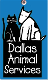 Dallas Animal Services (Dallas, Texas) logo: Dog and cat sitting on black box