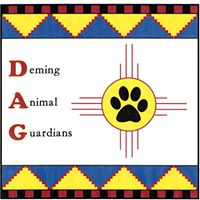 Deming Animal Guardians (Deming, New Mexico) logo with DAG with paw print in yellow circle