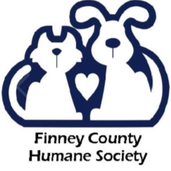 Finney County Humane Society (Garden City, Kansas) logo with cat and dog outlines with heart in the middle over name