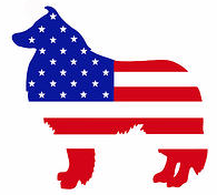 Freedom Collie Rescue (Sugarland,Texas) logo is red, white, blue collie silhouette