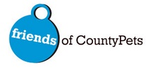 Friends of CountyPets (Houston, Texas) logo of blue tag from dog collar