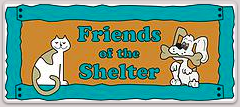 Friends of the Shelter (Los Alamos, New Mexico) logo of vase, bowl with dog, cat, paw