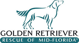 Golden Retriever Rescue of Mid-Florida (Goldenrod, Florida) logo of silhouette of golden retriever and text