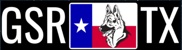 German Shepherd Rescue of Texas (Waxahachie, Texas) logo is dog inside of Texas flag with text on both sides